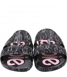 Black sandals for girl with Barbie