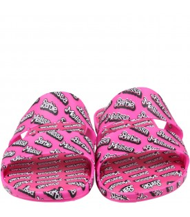 Fuchsia sandals for girl with bow