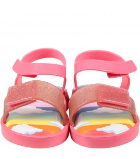 Pink sandals for girl with clouds