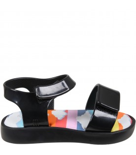 Black sandals for kids with clouds