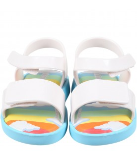 Multicolor sandals for kids with clouds
