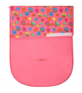 Fuchsia sleeping bag for babygirl with teddy bear