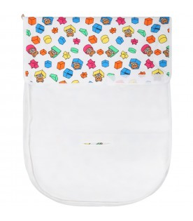 White sleeping bag for babykids with teddy bear