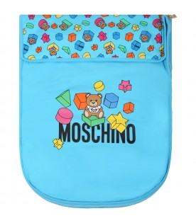 Light blue sleeping bag for babyboy with teddy bear