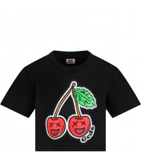 Black t-shirt for girl with cherry