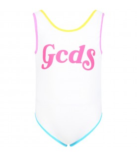 White swimsuit for girl with logo