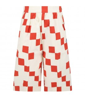 Ivory trousers for kids with logo