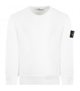 White sweatshirt for boy with iconic patch