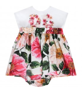 Multicolor dress for babygirl with logo