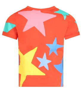 Red t-shirt for girl with stars