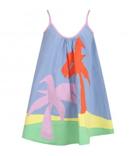 Mulitcolor dress for girl with palms