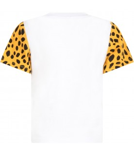 White t-shirt for kids with cheetahs