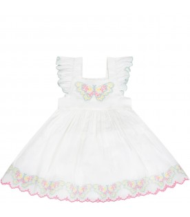 White dress for babygirl with butterflies