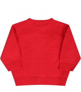 Red sweater for babyboy with logo