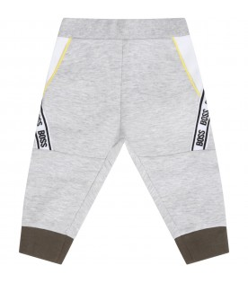 Grey sweatpants for babyboy with logos