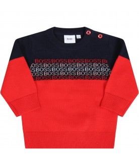 Multicolor sweater for babyboy with logos