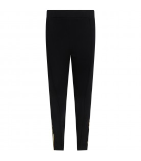 Black leggings for girl with logos