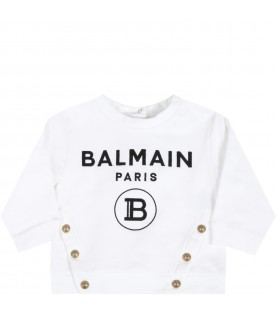 White sweatshirt for babygirl with logo