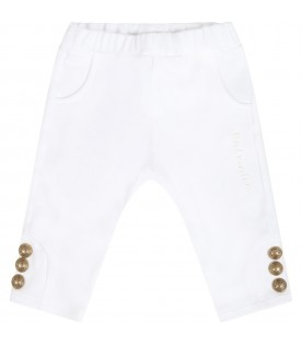 White sweatpants for babykids with logo
