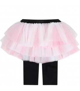 Pink skirt for babygirl with logo