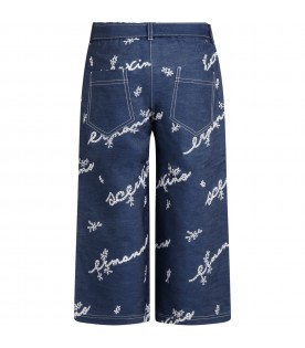 Blue trouser for girl with logos