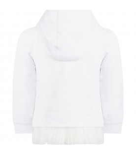 White sweatshirt for girl with logo