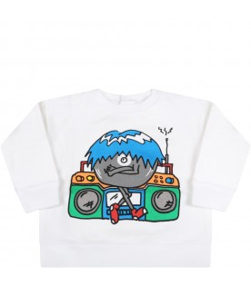 White sweatshirt for babyboy with monster