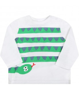 White t-shirt for babyboy with snake