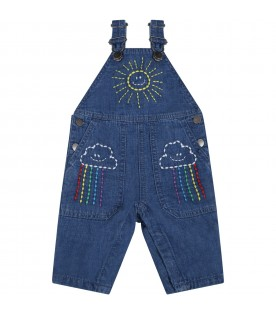 Blue overalls for babykids with sun