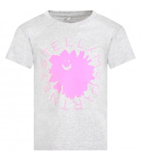 Grey t-shirt for girl with flower