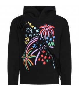 Black sweatshirt for girl with fireworks