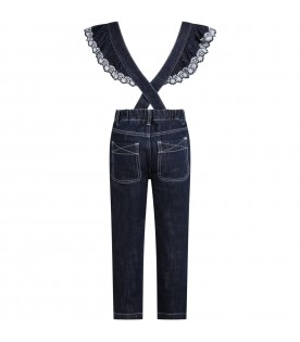 Blue dungarees for girl with logo