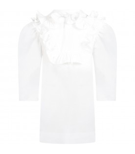 White blouse for girl with logo