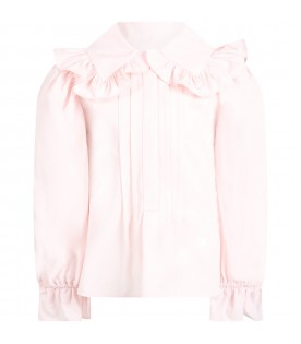 Pink blouse for girl with logo