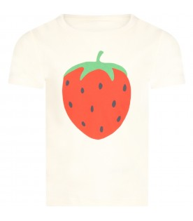 Ivory T-shirt for kids with straweberry