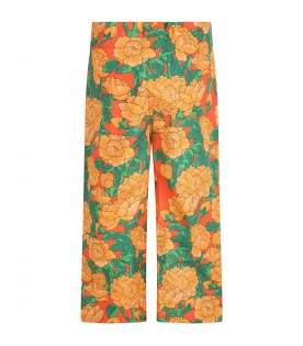Orange trousers for girl with peonies