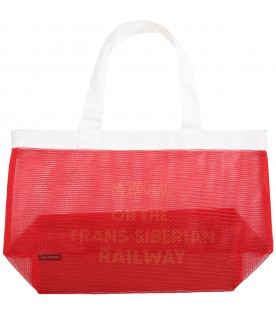 Red bag for kids with yellow logo