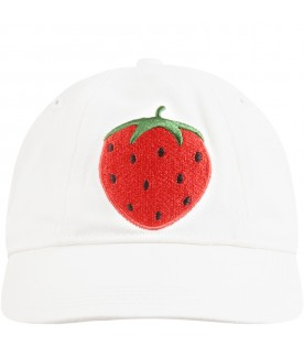 White hat for kids with strawberry