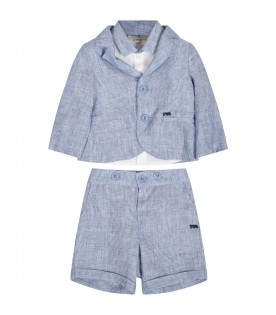 Light blue suit for babyboy with logo