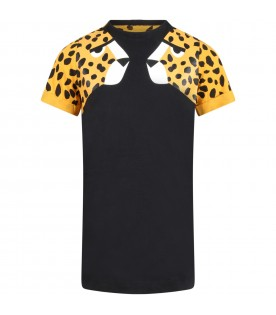 Black dress for girl with tigers