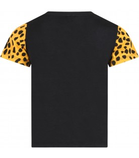 Black T-shirt for kids with tigers