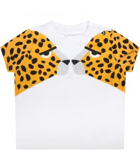 White T-shirt for babykids with tigers
