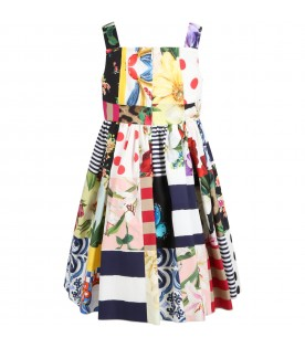 Multicolor dress for girl with iconic prints