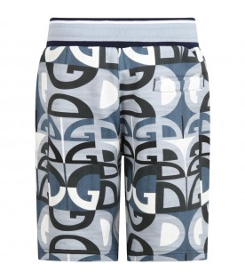 Light blue short for boy with logos