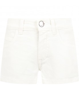 Short bianco per bambina con double FF