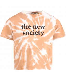 Multicolor ''the new society'' t-shirt for kids