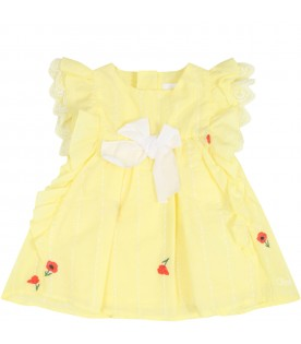 Yellow dress for babygirl with roses