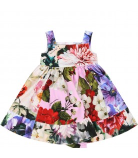 Multicolor dress for babygirl with flowers