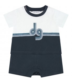 Multicolor romper for babyboy with logo