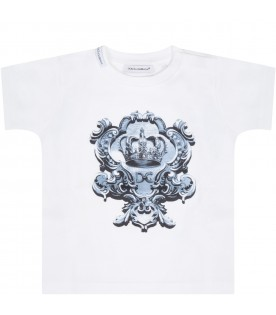 White t-shirt for babykids with crown